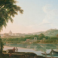 A Distant View Of Rome Across The Tiber by Jacob More