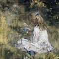 A Girl With Flowers On The Grass by Jacob Maris