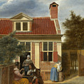 A Group At The Site Behind A House by Pieter de Hooch