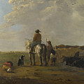 A Landscape With Horseman Herders And Cattle by PixBreak Art