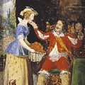 A Maid Offering A Basket Of Fruit To A Cavalier by Everett Millais