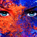 A Pair Of Beautiful Blue Women Eyes Beaming Color Earth Effect Painting Collage Violet Makeup by Jozef Klopacka