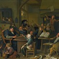 A Riotous Schoolroom With A Snoozing Schoolmaster by Jan Havicksz
