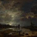 A River Near A Town By Moonlight by PixBreak Art
