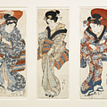 A Set Of Three Woodblock Prints Kakemono by Eastern Accents