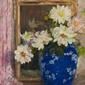Abbott Graves 1859-1936 Flowers In A Blue Vase by Abbott Graves