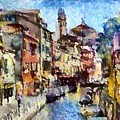 Abstract Canal Scene In Venice L A S by Gert J Rheeders