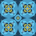 Abstract Mandala Cyan, Dark Blue And Yellow Pattern For Home Decoration by Drawspots Illustrations