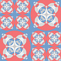 Abstract Mandala White, Pink And Blue Pattern For Home Decoration by Drawspots Illustrations