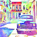 Abstract Watercolor - Havana Cuba Classic Car IIi by Chris Andruskiewicz