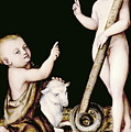 Adoration Of The Child Jesus By St John The Baptist by Lucas Cranach the Elder