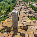 Aerial Wide-angle View Of The Historic Town Of San Gimignano Wit by JR Photography