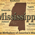 Aged Mississippi State Pride Map Silhouette  by Keith Webber Jr
