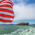 Alcatraz Island With American Flag by Benny Marty