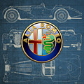 Alfa Romeo 3 D Badge Over 1938 Alfa Romeo 8 C 2900 B Vintage Blueprint by Serge Averbukh