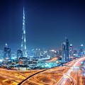 Amazing Night Dubai Downtown Skyline, Dubai, United Arab Emirates by Marek Kijevsky