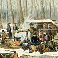 American Forest Scene Maple Sugaring by Currier and Ives