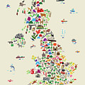 Animal Map Of Great Britain For Children And Kids by Michael Tompsett