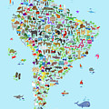 Animal Map Of South America For Children And Kids by Michael Tompsett