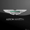 Aston Martin 3 D Badge On Black  by Serge Averbukh