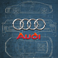 Audi 3 D Badge Over 2016 Audi R 8 Blueprint by Serge Averbukh