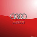 Audi - 3d Badge On Red by Serge Averbukh