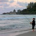 Australia - Fisherman At Greenmount Beach by Jeffrey Shaw