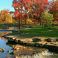 Autumn At The Deer Lake Creek Riffles In Forest Park St Louis Missouri by Garry McMichael