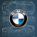 B M W 3 D Badge Over B M W I8 Blueprint  by Serge Averbukh