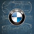 B M W 3 D Badge Over B M W I8 Blueprint  by Serge Averbukh