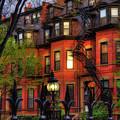 Back Bay Boston Brownstones In Spring by Joann Vitali