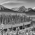 Banff Bow River Black And White by Adam Jewell