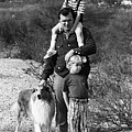 Barry Sadler With Sons And Family Collie Tucson Arizona 1971 by David Lee Guss