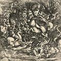Battle Of Nude Men by Domenico Campagnola