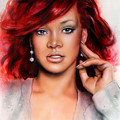 beautiful airbrush portrait of RihanA beautiful airbrush portrait of Rihanna with red hair and a fac by Jozef Klopacka