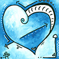 Beautiful Original Acrylic Heart Painting From The Pop Of Love Collection By Madart by Megan Duncanson