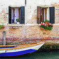 Beautiful View Of Water Street And Old Buildings In Venice, Ital by Otto