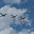 Beechcraft T-34 Mentor Airplane Trio 3 by John Brueske