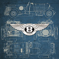 Bentley - 3 D Badge Over 1930 Bentley 4.5 Liter Blower Vintage Blueprint by Serge Averbukh