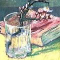 Blossoming Almond Branch In A Glass With A Book 1888 by Vincent Van Gogh