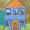 Blue House In The Hills Cat In Every Window by JoLynn Potocki