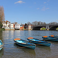 Blue Rowing Boats On The Thames At Hampton Court London by Julia Gavin