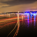 Boats Light Trails On Lake Wylie After 4th Of July Fireworks by Alex Grichenko