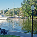 Boats On The Kalamazoo River In Saugatuck, Michigan by Ruth Hager