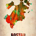 Boston Watercolor Map  by Naxart Studio