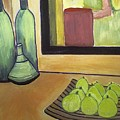 Bottles And Pears No 2 by Mary ann Barker