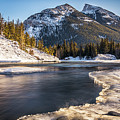 Bow River With Mountain View Banf National Park by Yves Gagnon