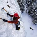 Brandon Prince Climbing Genesis I Area In Hyalite Canyon  by Elijah Weber