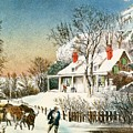 Bringing Home The Logs by Currier and Ives