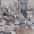 Brooklyn Bridge by Joseph Pennell